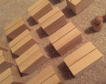 Wooden Place Card Holders + 2 Wooden Cake Topper Bases