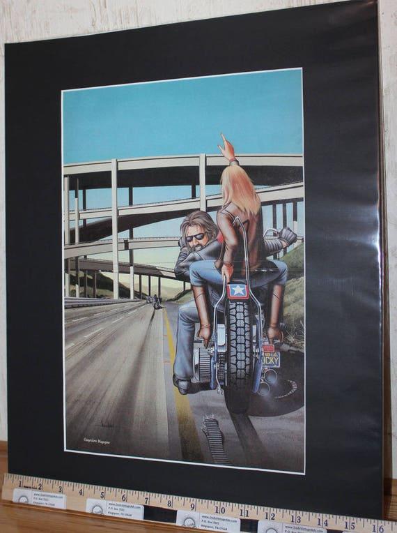 """David Mann """"Busted Belt Bummer"""" 16'' x 20'' Matted Motorcycle Biker Art #8803ezrxmb"""