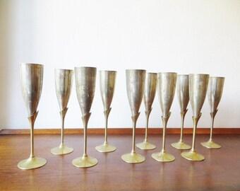 Set of 10 vintage champagne flutes