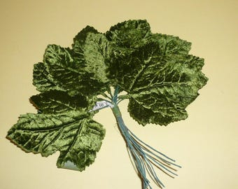 Vintage Millinery Green Velvet Leaves Maple Leaf Hatmaking Floral Supplies Free Shipping  by VintageStudioSupply