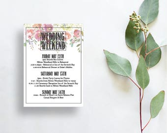 Weekend Wedding itinerary for welcome bags Wedding schedule for wedding guests Wedding Itinerary Wedding guest itinerary wedding timeline