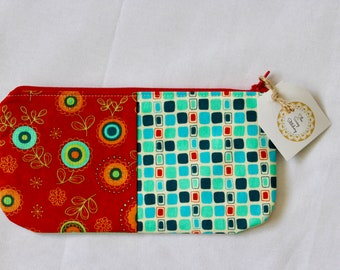 Red & Teal Floral - Flat Zipper Pouch