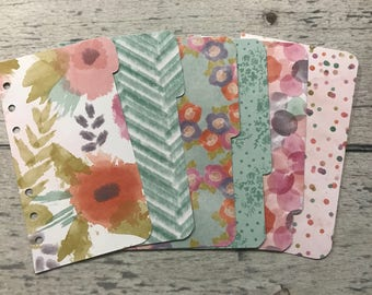 PERSONAL Sized Floral Dashboard and Dividers for Filofax, Franklin Covey, Day Planner, Kikki K, Gillio, etc