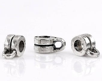 """Set of 5 bails """"Double ring"""" round antique silver Metal 9x6mm"""