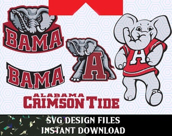 Alabama Crimson Tide Logo SVG Vinyl Cutting Decal, for Mugs, T Shirts, Cars  SVG files for Silhouette Cameo Cut Files,  SVG Car Decal