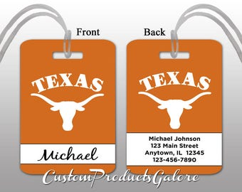 College Luggage Tag, Texas Longhorns, Personalized Luggage Tag, Suitcase Bag Tag, Fun Luggage Tag