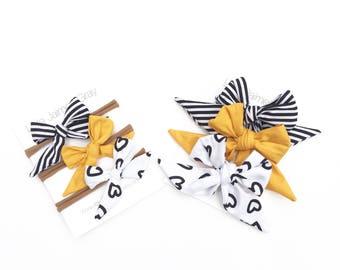 Sailor bows, nylon headband, stripes, mustard