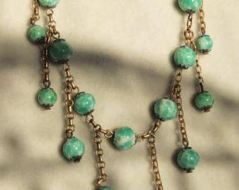 1930's Peking Glass Dangle Necklace