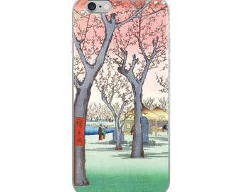 Japanese blossoms iPhone case, pretty pink flowers in Asian woodblock nature print