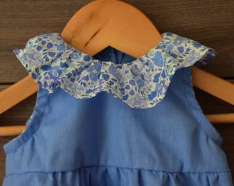 Romper in blue cotton with frill collar in liberty