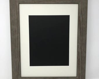 "11x14 1.75"" Rustic Grey Solid Wood Picture Frame with Cream Mat Cut for 8x10 Picture"