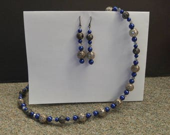 Blue and dark grey/silver necklace and earrings set