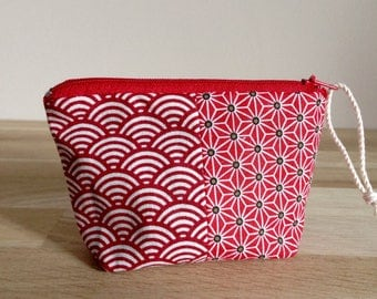 Wallet red Japanese fabric