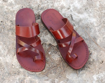 Brown leather sandal handmade sandals brown sandals for men sandals & women sandals Jerusalem sandals leather slippers Jesus sandals