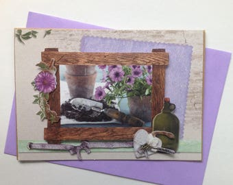 Handmade card, 3D, on the theme of flowers, gardening, all occasions