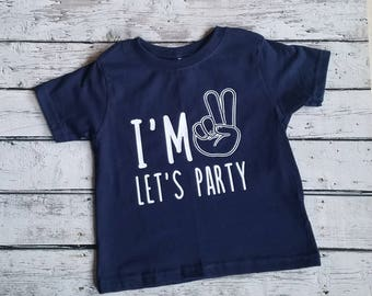 Two year old birthday shirt, unisex t shirt, let's party, girls birthday shirt, boys birthday shirt
