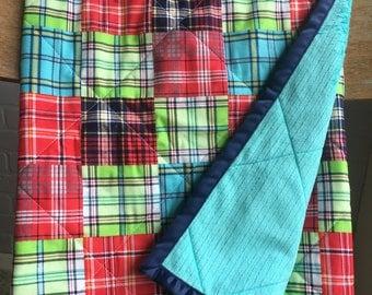 Plaid Baby Quilt, Minky Baby Blanket, Aqua Baby Quilt, Red Baby Quilt, Green Baby Quilt, Plaid Baby Blanket, Crib Quilt, Crib Blanket
