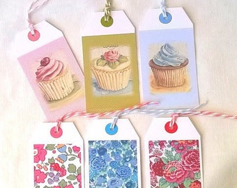 6 gift tags liberty and cupcakes