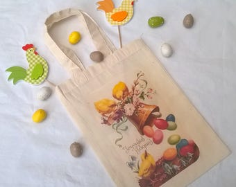 Bag for retro picture personalized 26 Easter egg hunt x 18 cm