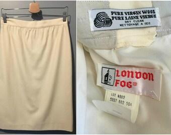 Vintage 1970s London Fog Pure Virgin Wool Winter White Skirt - Size 8