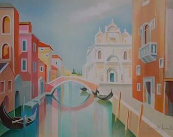 LEDERLE Janick: Gondolas in Venice - original lithograph