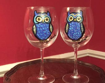 Red Wine Owl Glasses, hand painted glassware by Ana Peralta