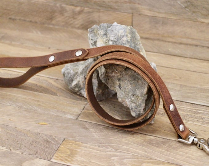 Dog leash, Cowboy brown leather dog leash, Pet gift, Strong leash, Distressed leather leash, Pet leash, Leash for walks.
