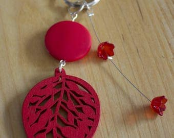 Key fob handmade leaf and red flowers