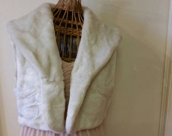 White Faux Fur Bolero Style Sleeveless Jacket Wrap Throw