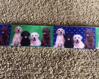 "Labrador puppies grosgrain ribbon7/8"" width 3 or 5 yd"
