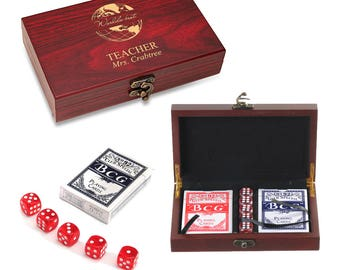 World's Best Teacher Personalized Card & Dice Set - Game Set for Teacher - Personalized Card and Die Wooden Box Best Teacher Present
