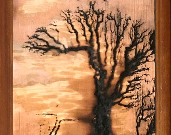 High Voltage Wood Burn, Lichtenberg Figure, Lichtenberg Wood Burn