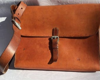 Vintage Swiss Army Leather Tool Bag / Swiss Army Dispatch-Rider Bag / Shoulder Bag / Messenger Bag from 1966