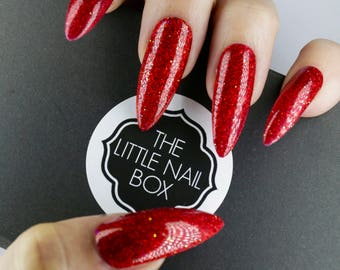 Red glitter press on nails | False nails | Nails| Gift for her | Long nails | Gift for friend | Birthday