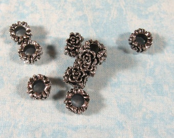 10 Antique Silver Tone Flower Euro Style Charm Beads (B491a)