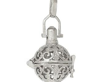 1 Angel Caller Bola Harmony Ball Wish Box Pendants Round Antique Silver Fits 14mm Bead (B471j)