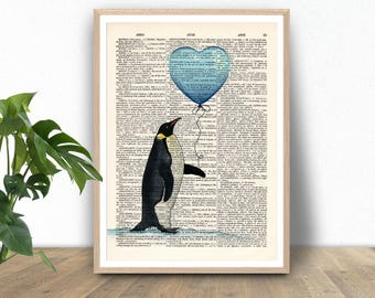 Love print, Penguin, Funny animal, Dictionary art print, Vintage book art print, dictionary page, Home Wall Decor, Gift poster [ART 008]