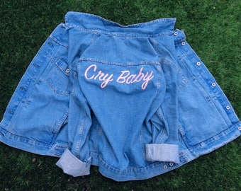 Cry Baby Oversized Custom Denim Jacket, Hand Embroidered, Embroidery Art