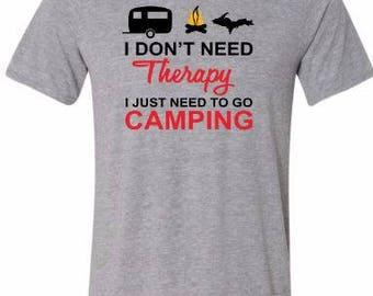 michigan camping shirt, white, camping shirt, tshirt
