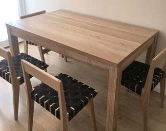 Solid white oak parsons table