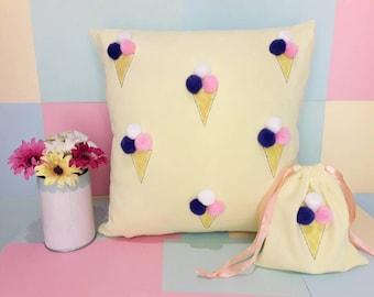 Ice cream pom poms pillow case / pillow case / ice cream / pom poms / home decor / home accessories