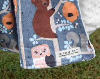 Blue Woodland Animals Baby Girl blanket changing pad cover burp cloth bedding
