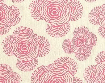 SALE Amy Butler Midwest Modern Floating Buds Ivory and Pink Fabric - Fabric by the Yard - Mod Floral Fabric - Clothing Apparel Quilt Fabric