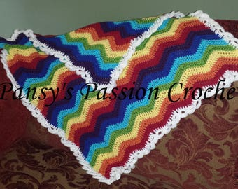 Hand Crocheted Rainbow Blanket