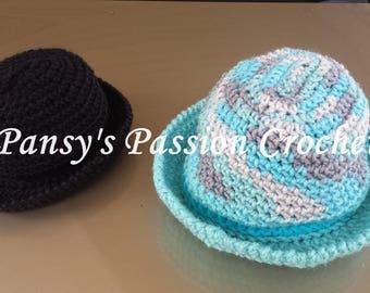 Bowler style crochet hat