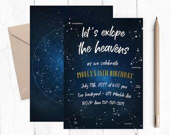 Planetarium invitation, Museum Birthday Invitations, Night Sky Invitation, Museum Invitation, Constellation Invitations,  Stars Invites,
