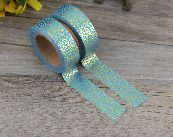 Washi Tape - Turquoise Gold Foiled Washi Tape - Foil Washi Tape - Paper Tape - Planner Washi Tape - Washi - Decorative Tape - Deco Tape