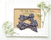 Navy & Pink Floral Evy Hand-tied hair bow - Baby Headband - Cotton Schoolgirl Bow - Newborn Hairbow - Nylon Headband - Toddler Hair Clip