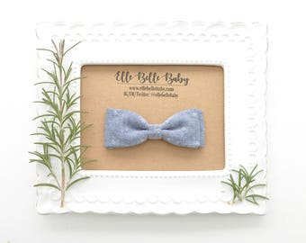 Denim Blue Chambray Bow Tie - Baby Bowtie - Ring Bearer Tie - Wedding Bow tie - Toddler Bow tie - Clip on Bowtie