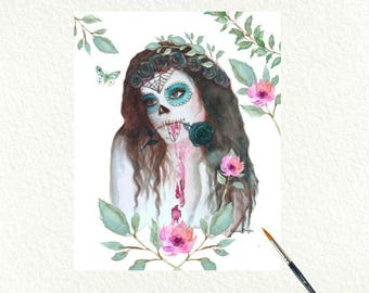 Mexican Catrina Printable Download Wall Art.Catrina painting ,Day Of  The Dead Print. Pretty Catrina Watercolor digital download,